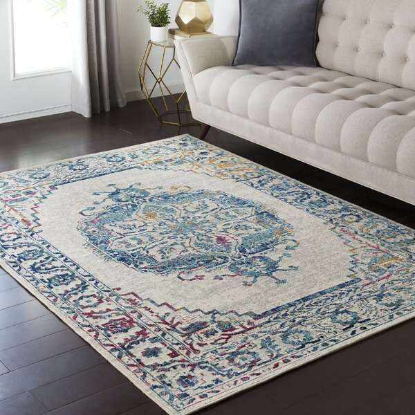 Tierney Gray/Teal Area Rug by Mistana