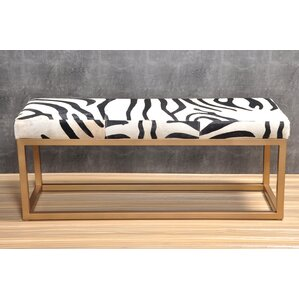 Min Metal and Leather Bench by Everly Quinn