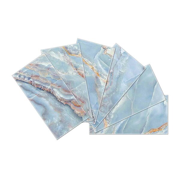 Crystal Skin 3 x 6 Glass Subway Tile in Brown/Blue by SkinnyTile