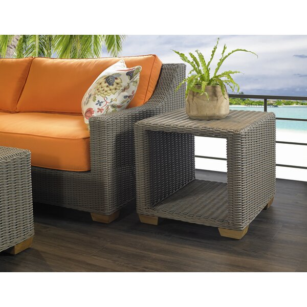 Brecken Wicker Side Table by Rosecliff Heights