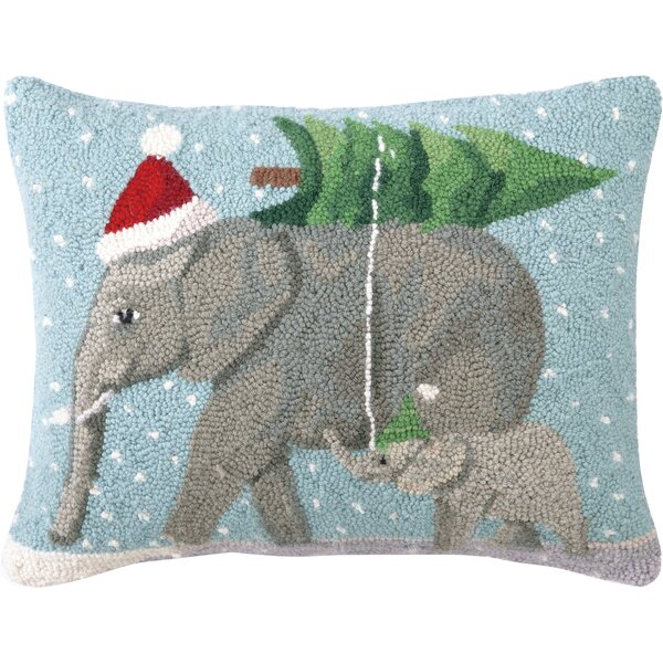 Jaron Elephants Hook Wool Throw Pillow by The Holiday Aisle