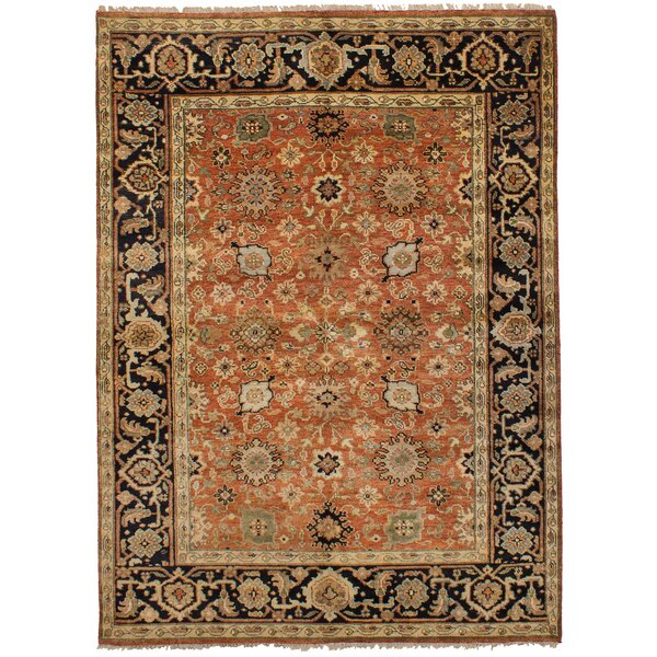 Lenita Hand-Knotted Wool Dark Copper Indoor Area Rug by Bloomsbury Market