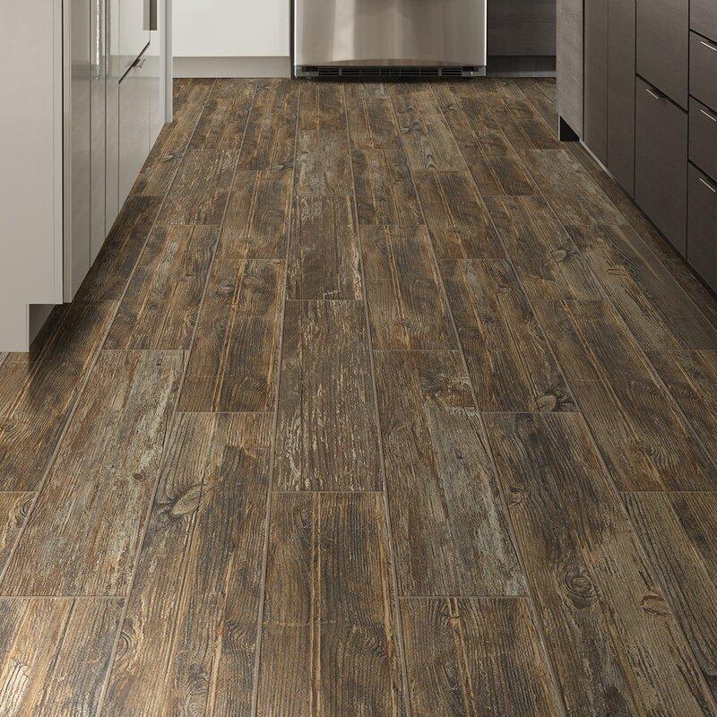 """Dark Brown Floor Tile: Welles Hardwood Tampico 7"""" X 24"""" Ceramic Wood Look Tile In"""