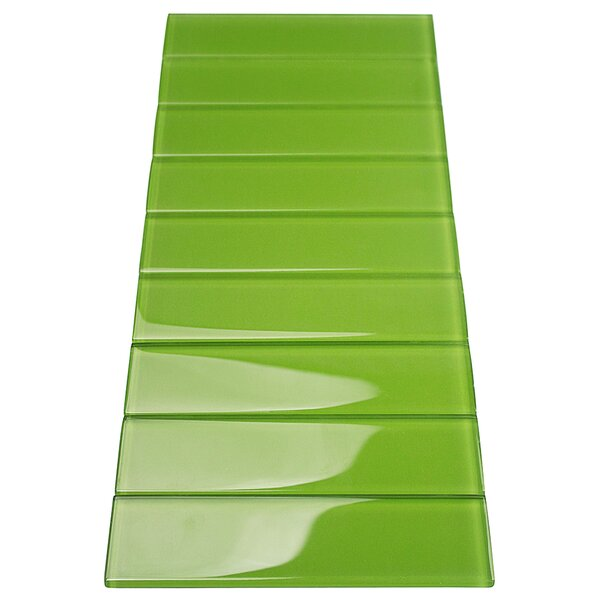 Contempo 2 x 8 Glass Subway Tile in Electric Lime by Splashback Tile