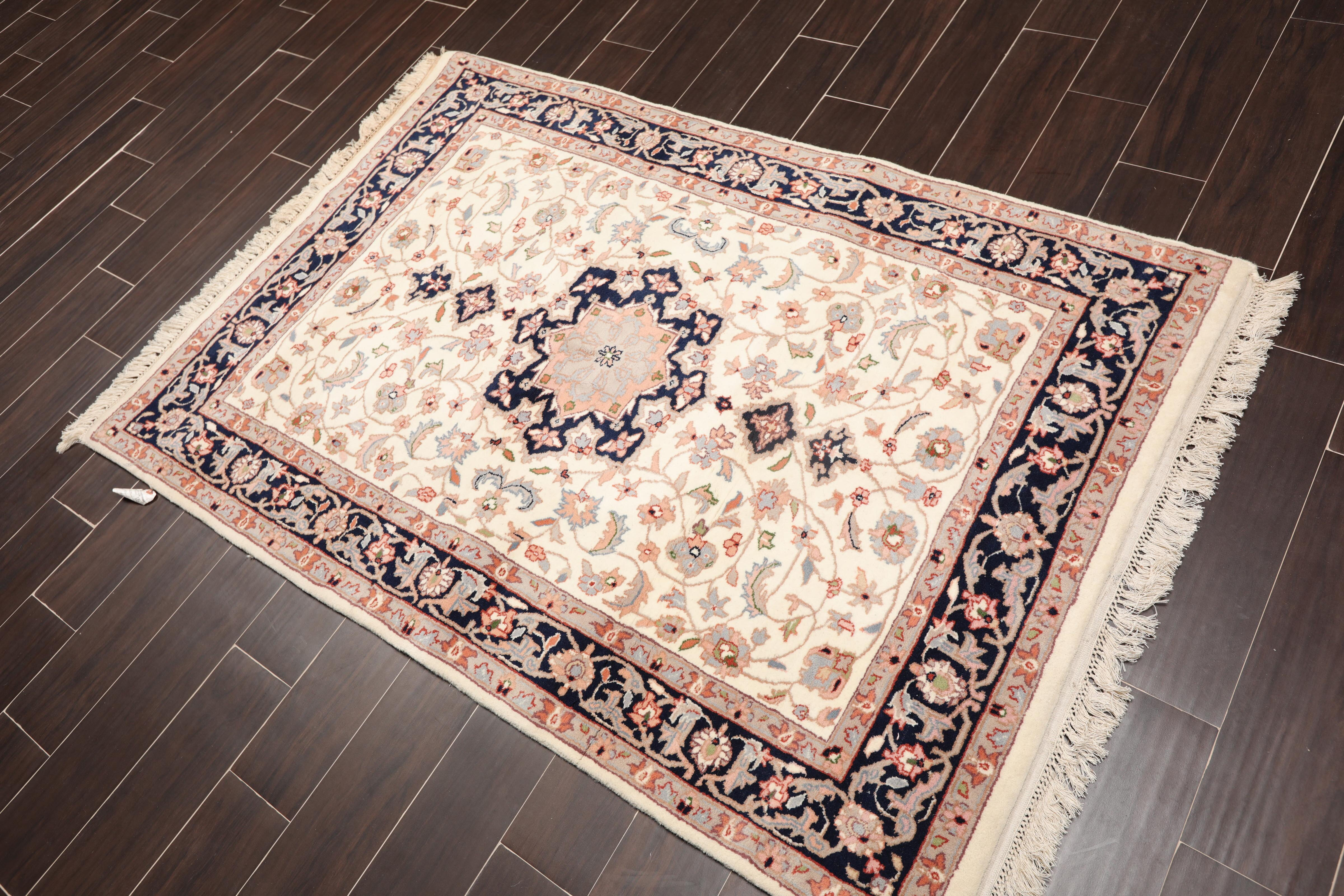 4 X6 Ivory Navy Peach Grey Blue Rust Multi Colour Hand Knotted Persian Oriental Area Rug Wool Traditional Oriental Rug