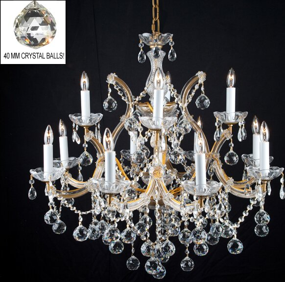 Alvarado 13-Light Gold Candle Style Chandelier by Astoria Grand