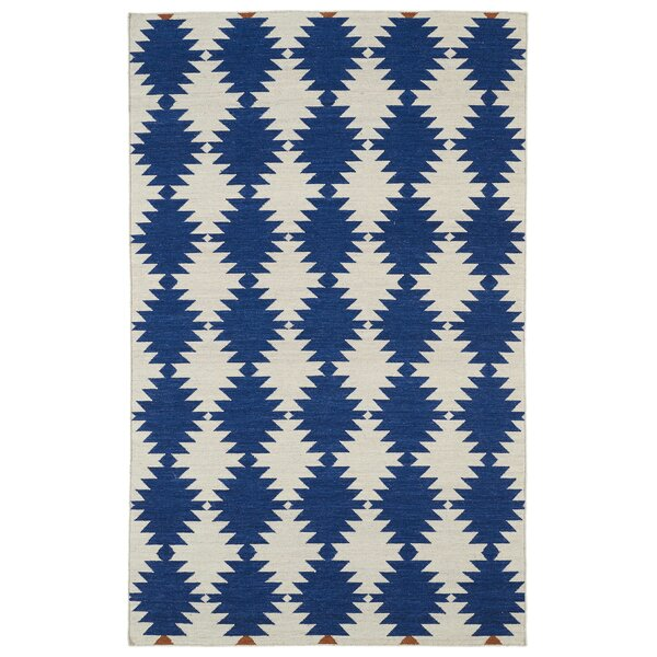 Marble Falls Navy Geometric Area Rug by Wrought Studio