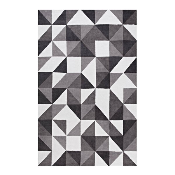 Witherell Geometric Triangle Mosaic Black/Gray/White Area Rug by Orren Ellis