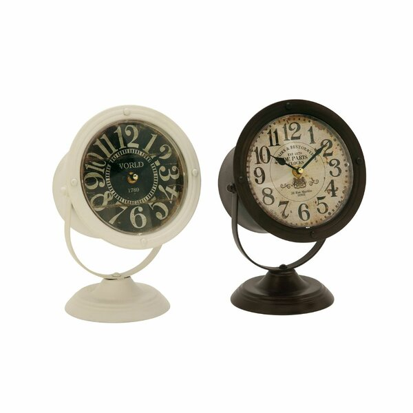 Exceptional Metal 2 Piece Tabletop Clock Set by Williston Forge