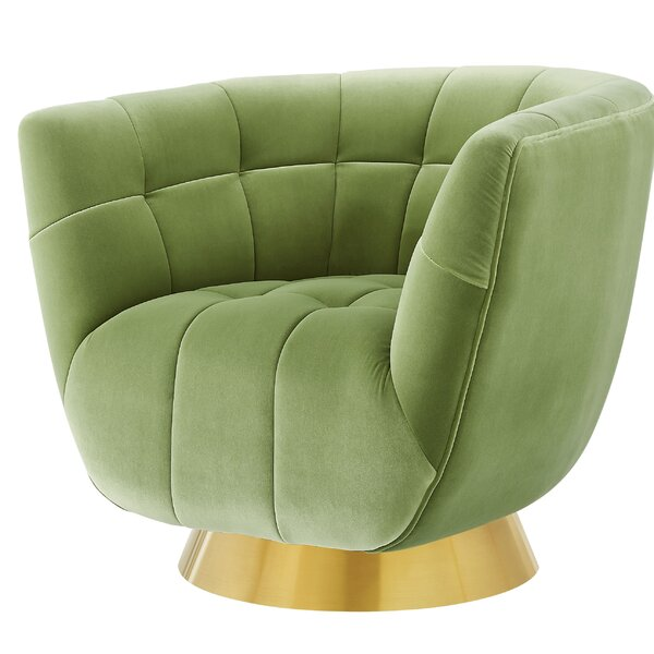 Colyer Hanna Swivel Barrel Chair By Everly Quinn