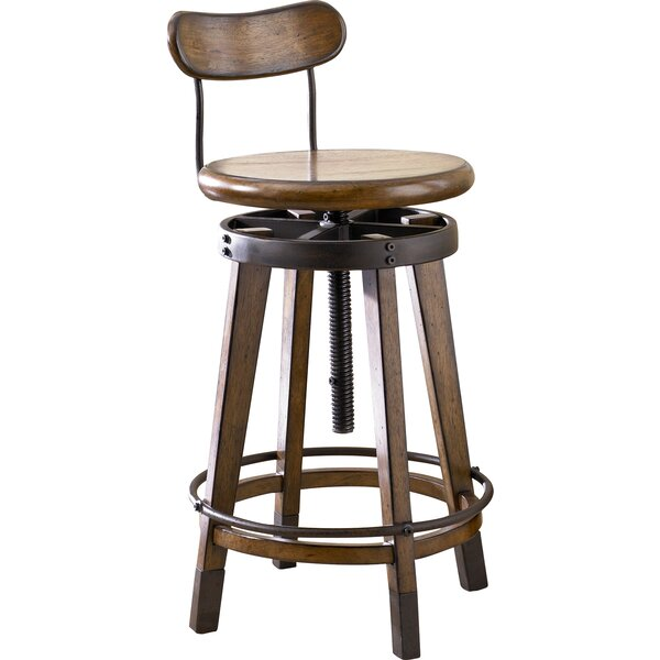 Omari Adjustable Height Swivel Bar Stool by 17 Stories