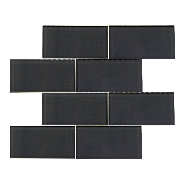 Premium Series 3 x 6 Glass Subway Tile in Glossy Midnight Gray by WS Tiles