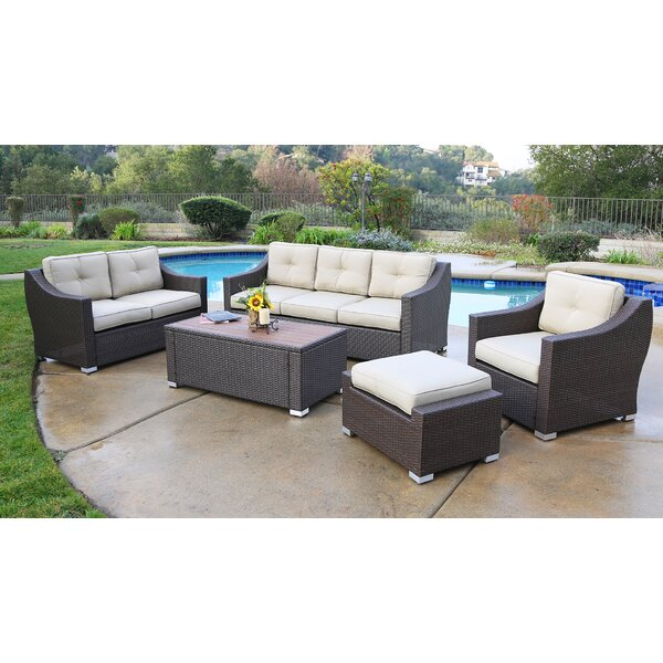 Suai 5 Piece Rattan Sectional Seating Group with Cushions by Brayden Studio