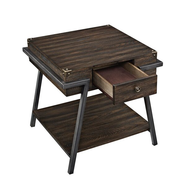 Maren One Drawer and One Shelf Wooden End Table with Storage by 17 Stories