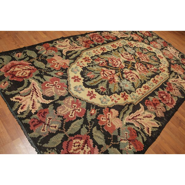 One-of-a-Kind Lizeth Kilim Hand-Woven Green/Beige Area Rug by Astoria Grand