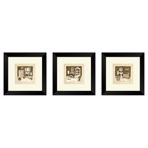 'Vintage Bath' Framed Painting Print Set by Charlton Home