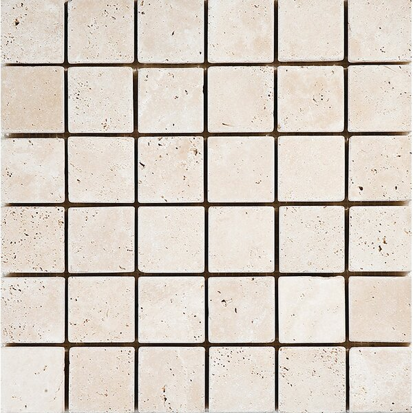 Tumbled 2 x 2 Stone Mosaic Tile in Ivory by Parvatile