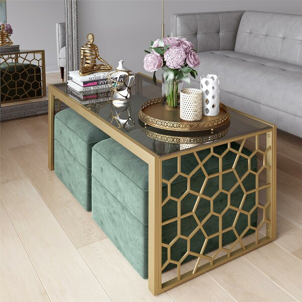 Juliette Glass Top Coffee Table by CosmoLiving by Cosmopolitan