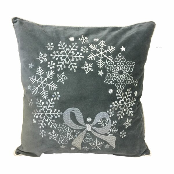 Holiday Reef Embroidered Velvet Throw Pillow by The Holiday Aisle