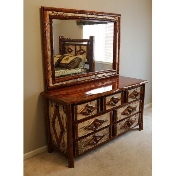 Minehead 7 Drawer Double Dresser With Mirror By Loon Peak