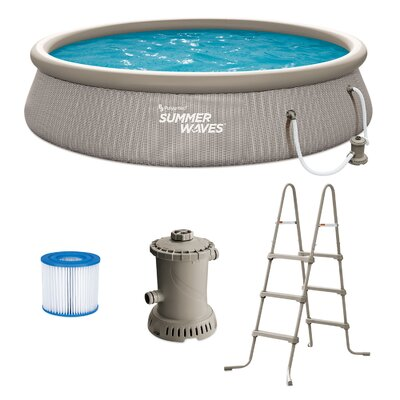 Summer Waves 14Ft X 36In Quick Set Ring Above Ground Pool, Gray Basketweave Polygroup Trading Ltd -  P1B01436E
