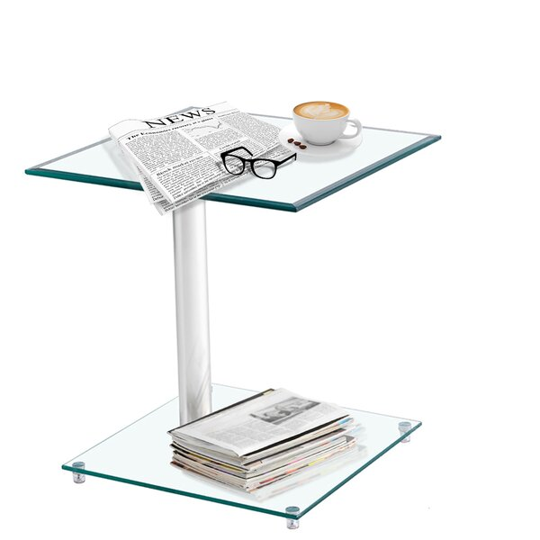 Shaundrel Glass Top Frame End Table by Orren Ellis Orren Ellis