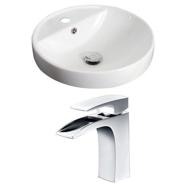 Ceramic Circular Drop-In Bathroom Sink with Faucet and Overflow by Royal Purple Bath Kitchen