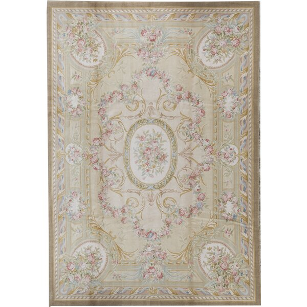 One-of-a-Kind Savonnerie Hand-Knotted Before 1900 Beige 8'8 x 12'3 Wool Area Rug