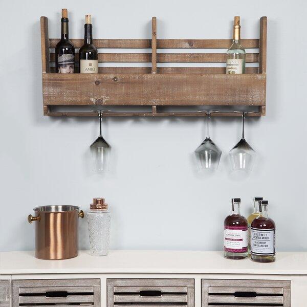 Halima Reclaimed Wood Pallet 6 Bottle Wall Mounted Wine Rack by Gracie Oaks