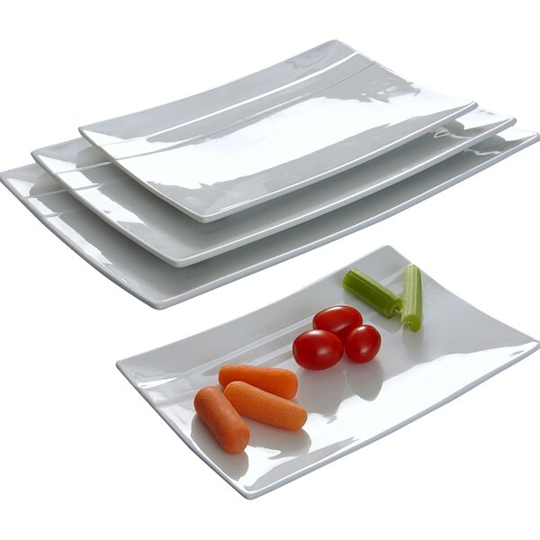 Rectangular Striped 4 Piece Plate Set by Flato Home Products