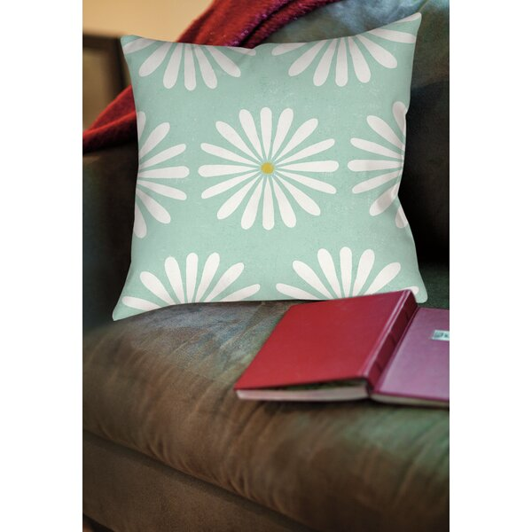 Jar of Sunshine Vintage Daisy Printed Throw Pillow by Manual Woodworkers & Weavers