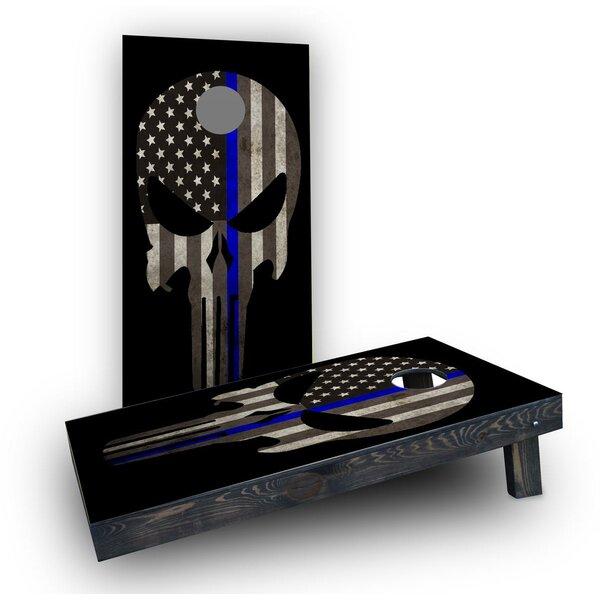 Blue Line Punisher Cornhole Boards (Set of 2) by Custom Cornhole Boards