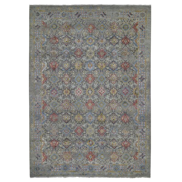 One-of-a-Kind Beavertown Hand-Knotted 2010s Gray 9'1 x 12' Area Rug