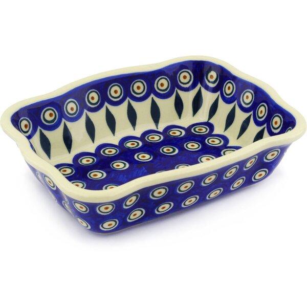 Peacock Rectangular Non-Stick Polish Pottery Baker by Polmedia