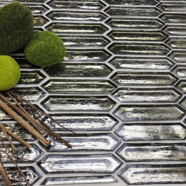 Fargin 0.9 x 3.1 Glass Mosaic Tile in Platinum Moss by Splashback Tile