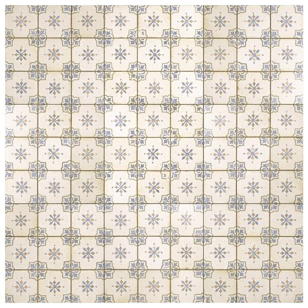 Rioja 13 x 13 Ceramic Field Tile in Blue/Cream by EliteTile