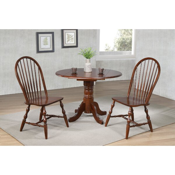 Lockwood 3 Piece Drop Leaf Solid Wood Dining Set by Loon Peak