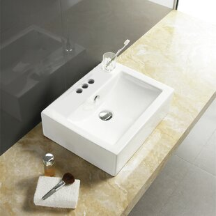 Save American Imaginations Ceramic Rectangular Vessel Bathroom Sink