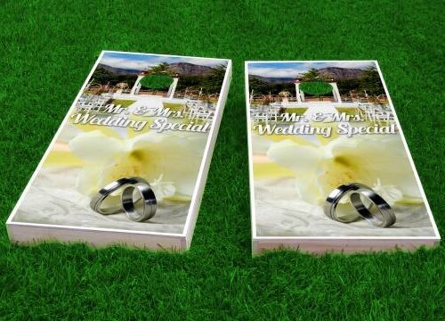 Wedding Rings Cornhole Game (Set of 2) by Custom Cornhole Boards