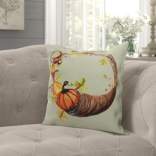 Hoyer Cornicopia Wreath Fall Print Throw Pillow by August Grove