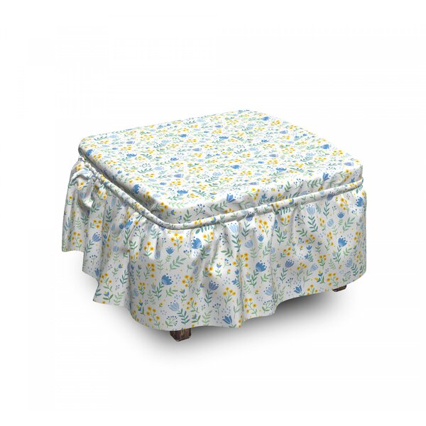 Fresh Spring Meadow Ottoman Slipcover (Set Of 2) By East Urban Home