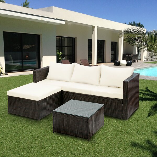 Brennen 5 Piece Rattan Sectional Set with Cushions by Wrought Studio
