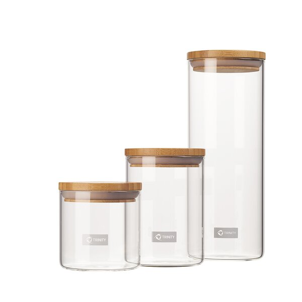 Glass 3 Piece Kitchen Canister Set (Set of 3) by Trinity