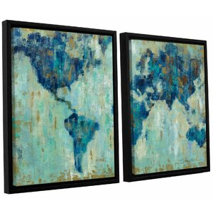 Map of the World' 2 Piece Framed Painting Print Set by Brayden Studio