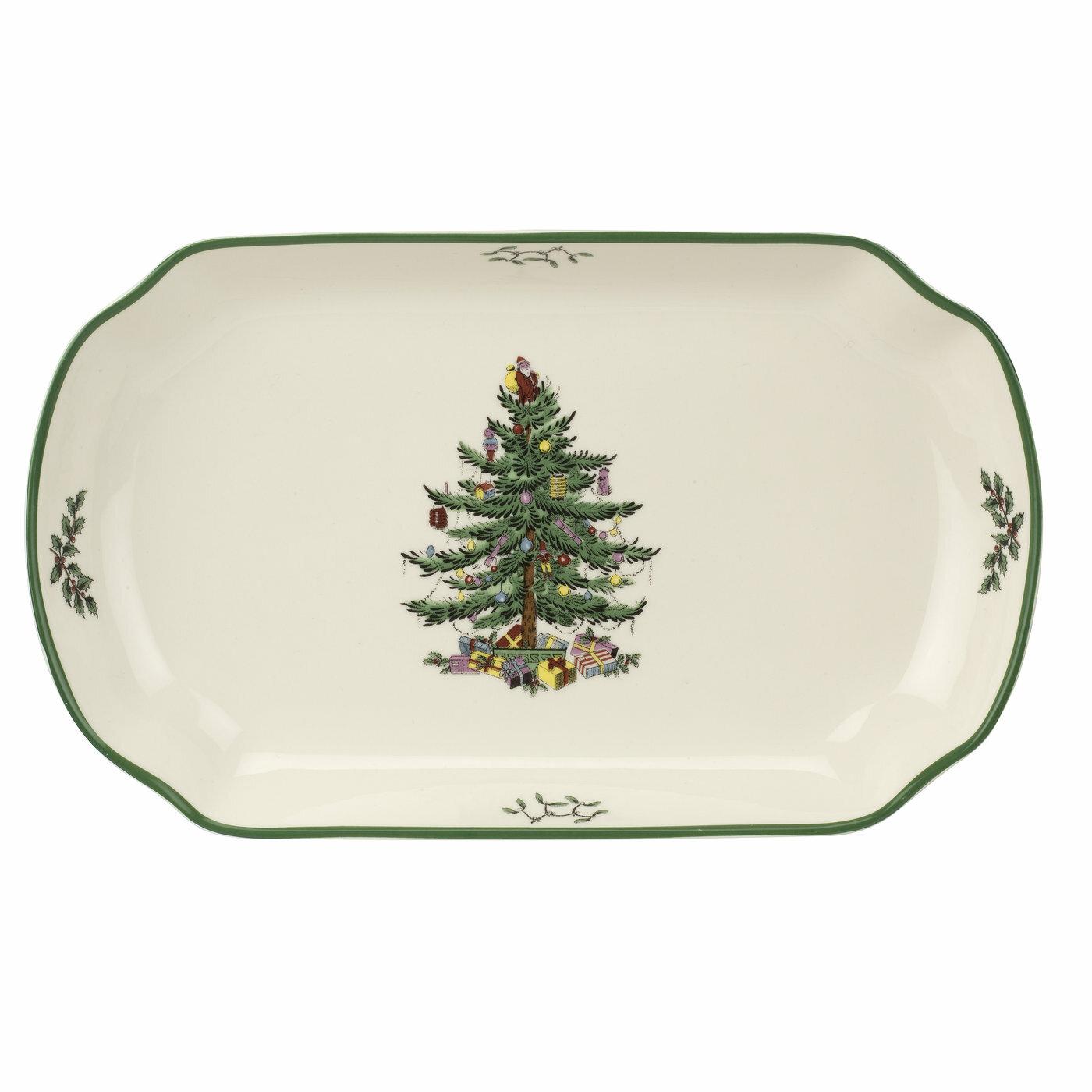Spode Christmas Plates.Spode Christmas Tree Rectangular Scalloped Tray