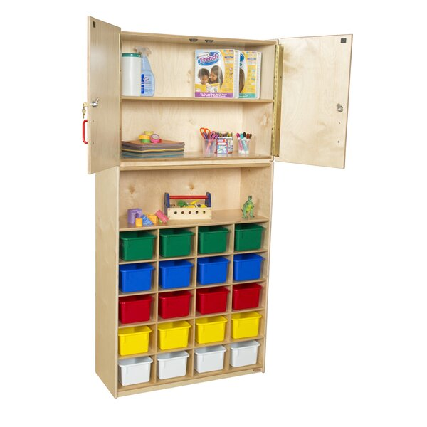 Vertical Storage 20 Compartment Classroom Cabinet with Trays by Wood Designs