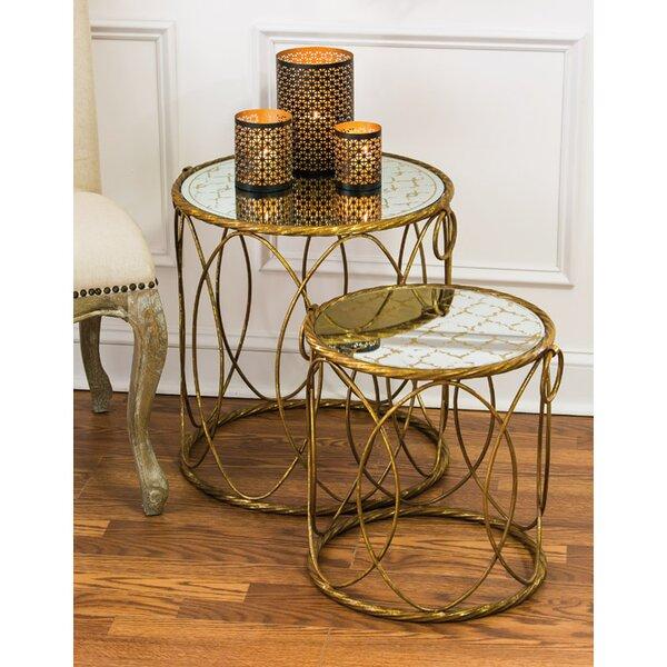 2-Piece Riga Mirrored Nesting Table Set by Evergreen Flag & Garden