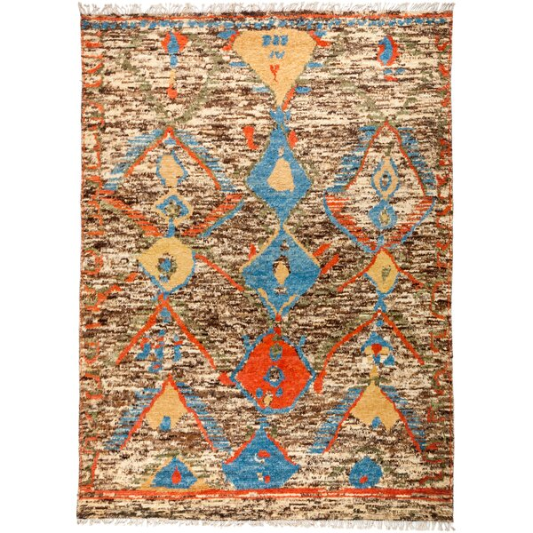 One-of-a-Kind Heiman Hand Knotted Wool Brown/Blue Area Rug by Bloomsbury Market