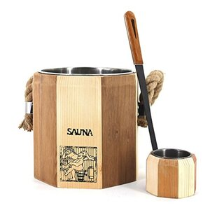 Handcrafted Wooden Sauna Ladle and Bucket Set by ALEKO