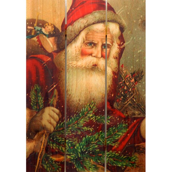 3 Piece Hat Santa Painting Print on Cedar by Gizaun Art